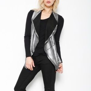 •illia• Draped Front Leather Colorblock Cardigan
